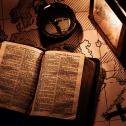Bible, map, lamp